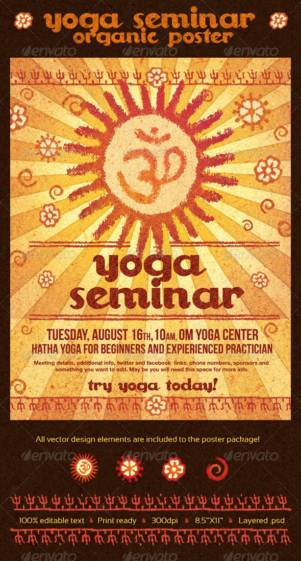 Yoga Seminar Organic Poster - Commerce Flyers