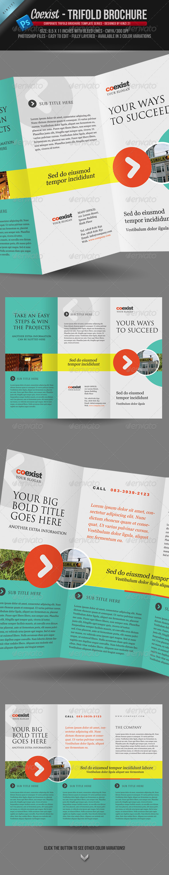 Coexist - Trifold Brochure PSD Template - Corporate Brochures