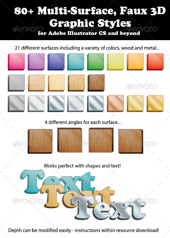 GraphicRiver 80& Multi-Surface Faux 3D Graphic Styles 3769648