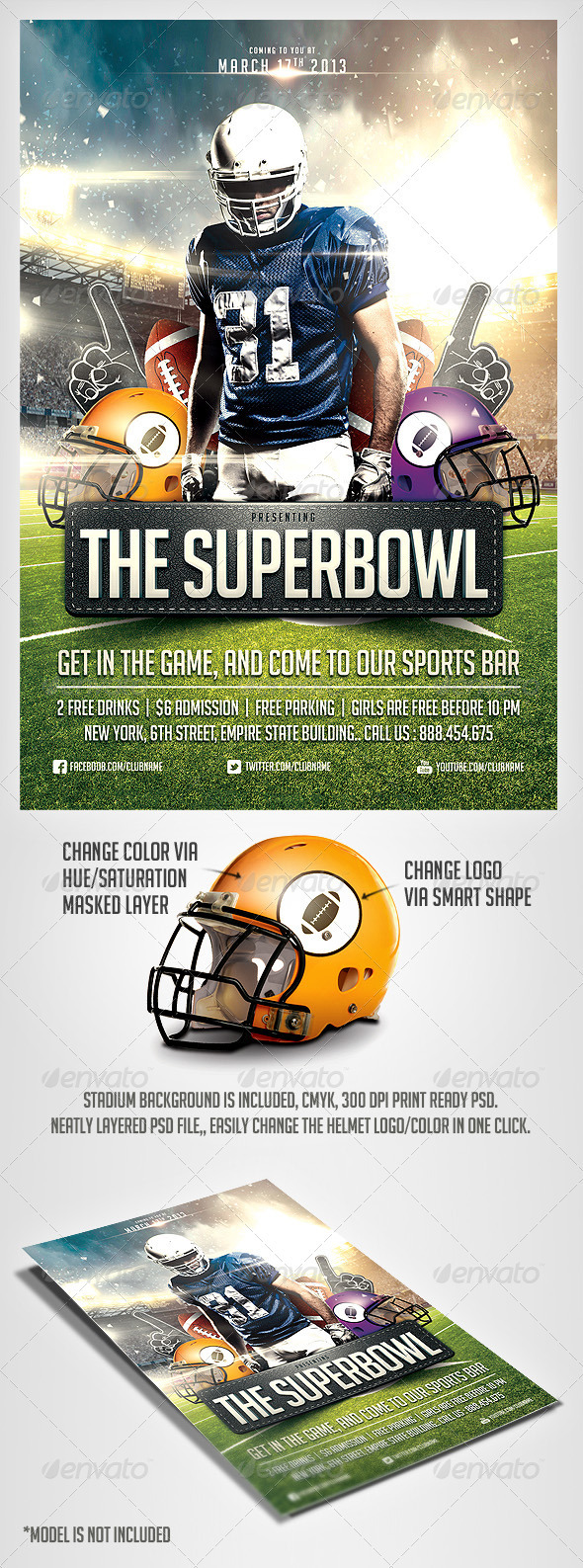 GraphicRiver SuperBowl Football Flyer Template 3769968