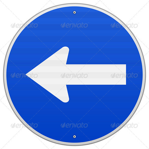 GraphicRiver Blue Sign with Arrow Left 3770065