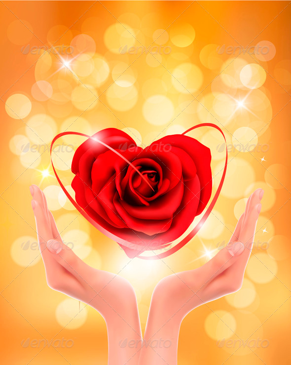 GraphicRiver Love concept holding a red heart in hands 3771450