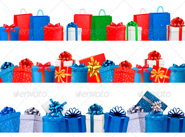 GraphicRiver Set of shopping banners with gift colorful boxes 3771561