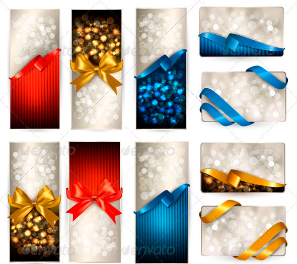 GraphicRiver Set of beautiful Gift cards with color gift bows 3771603