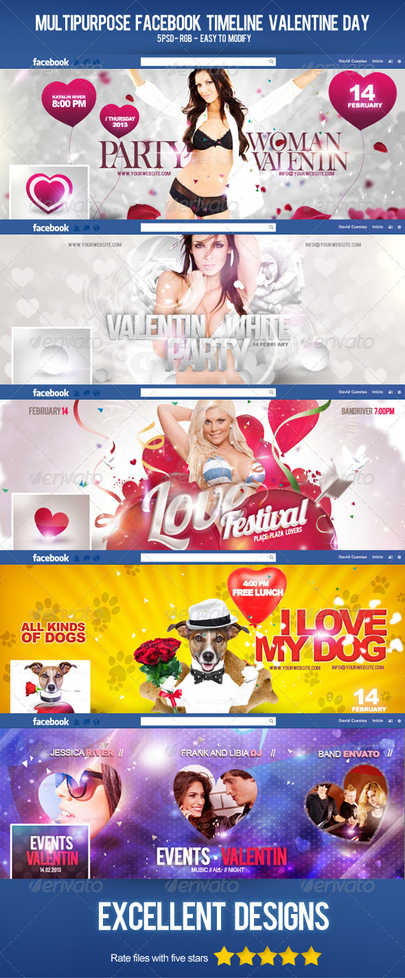 GraphicRiver Multipurpose FB Timeline Valentines Day 3709927