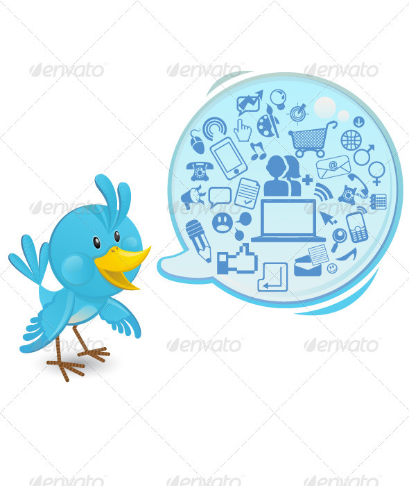 Social networking bluebird with a speech bubble - Animals Characters
