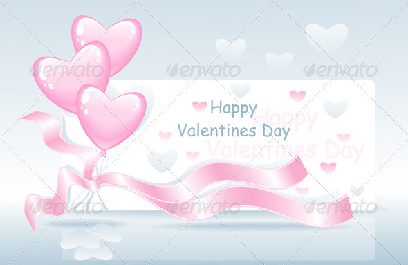 GraphicRiver Valentines Day with Balloons Ribbon and Hearts 3719133