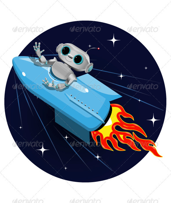 GraphicRiver Robot on the Space Rocket 3774018