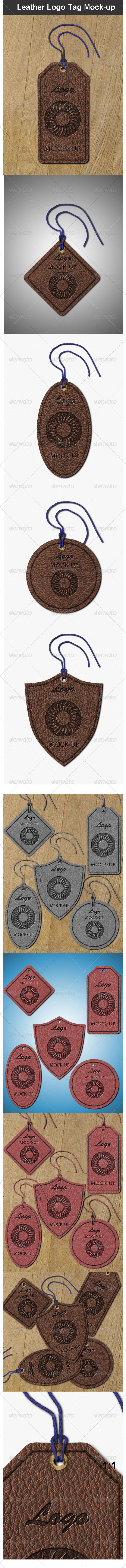 GraphicRiver Leather Logo Tag Mock-up 3774053