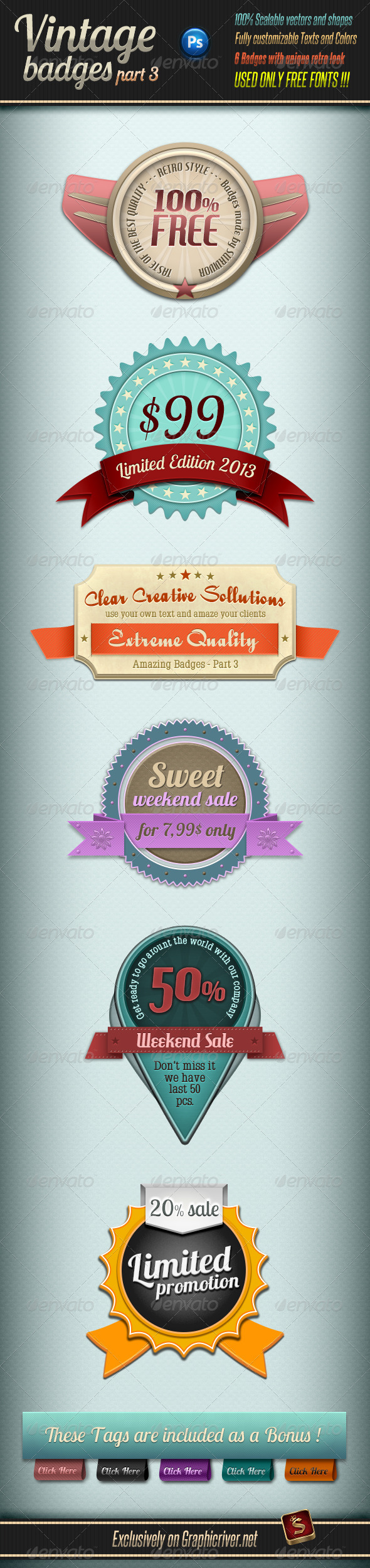 Retro Vintage Badges - Part 3 - Badges & Stickers Web Elements