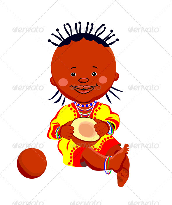 Vector African baby Girl with coconut - People Characters