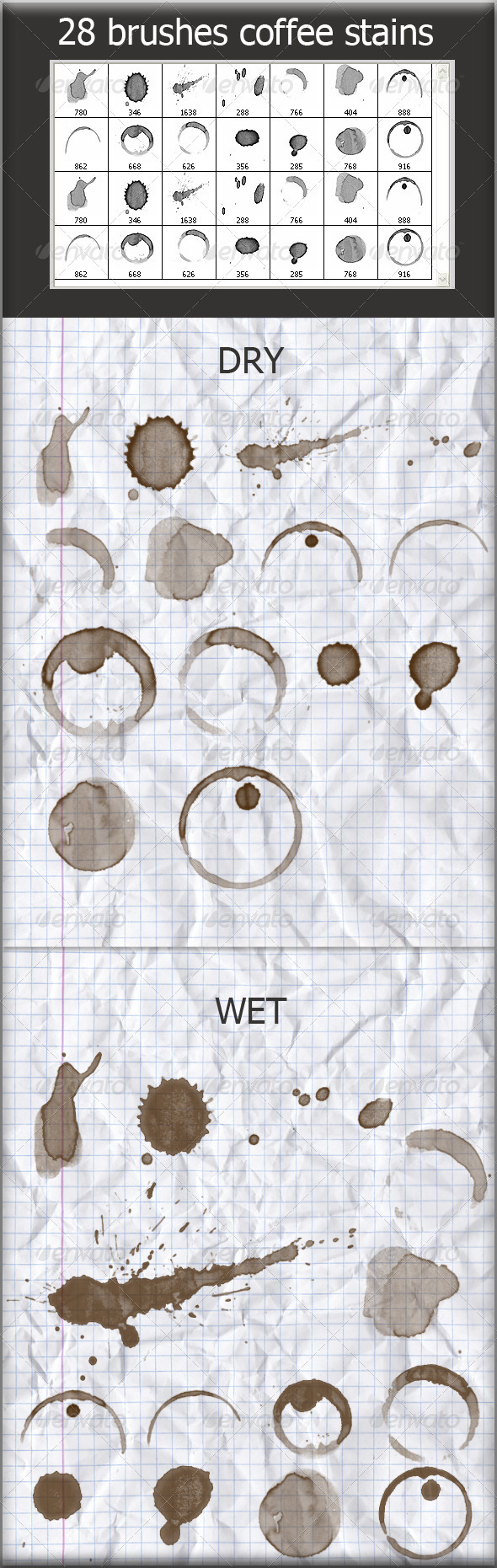 28 Brushes Coffee Stains (Wet and Dry) - Grunge Brushes