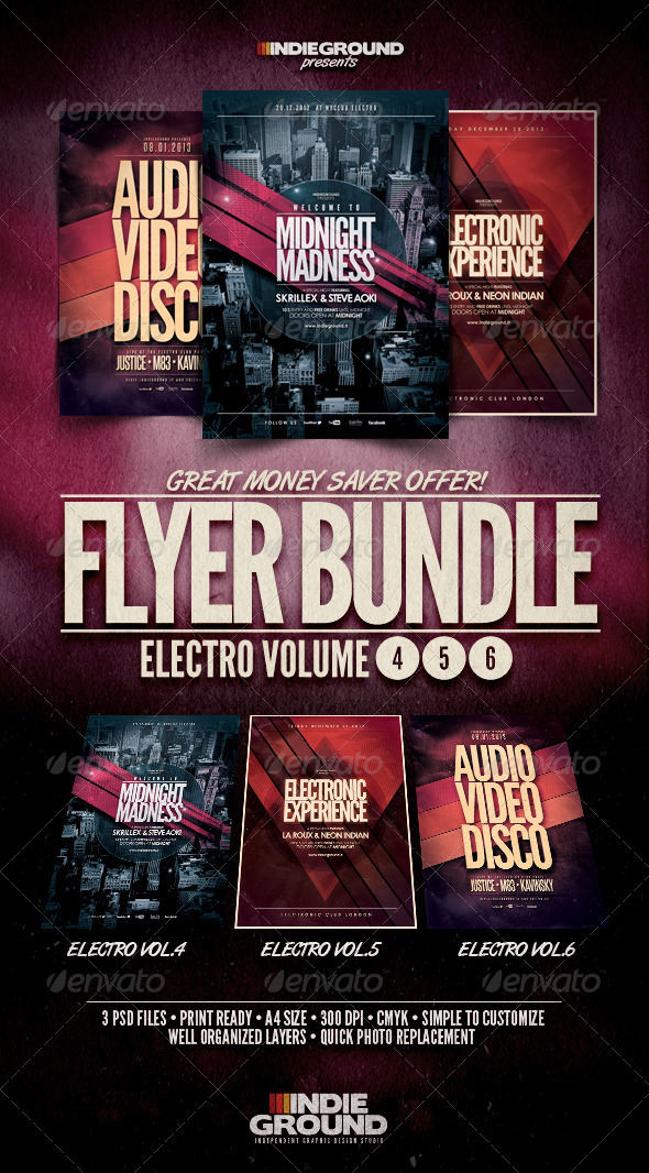 GraphicRiver Electro Flyer Poster Bundle Vol 4-6 3775313