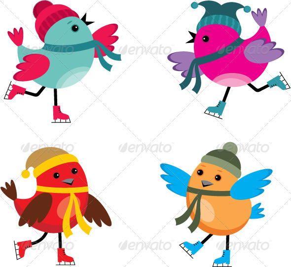 GraphicRiver Birds on Ice Skates 3776067