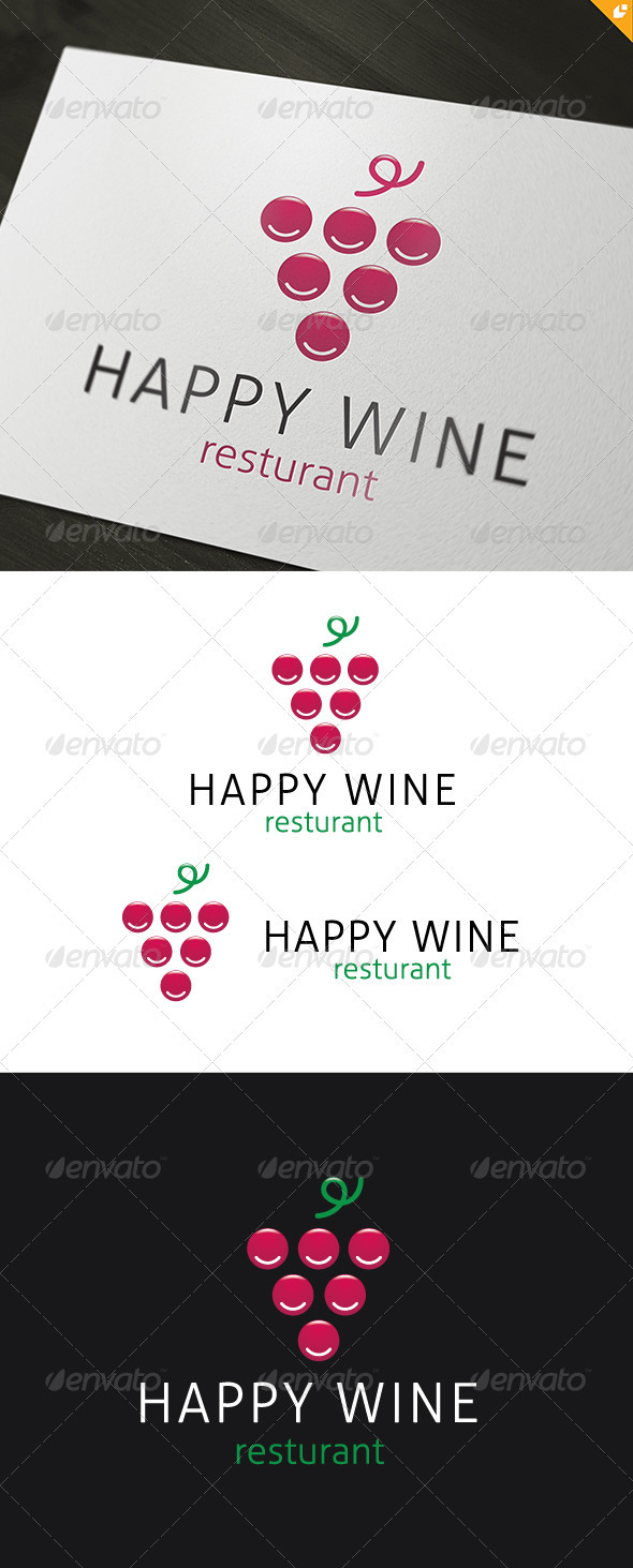 Happy Wine Logo - Food Logo Templates