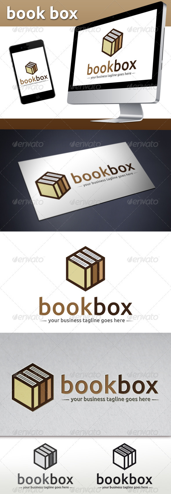 GraphicRiver Book Store Logo Template Book Cube 3776429