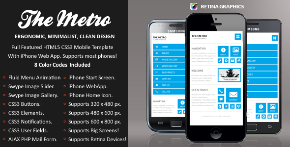 The Metro Mobile Retina | HTML5 & CSS3 And iWebApp