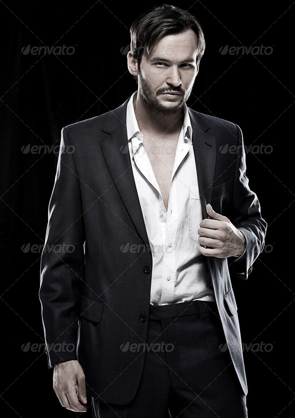 Sexy young Caucasian male model - Stock Photo - Images