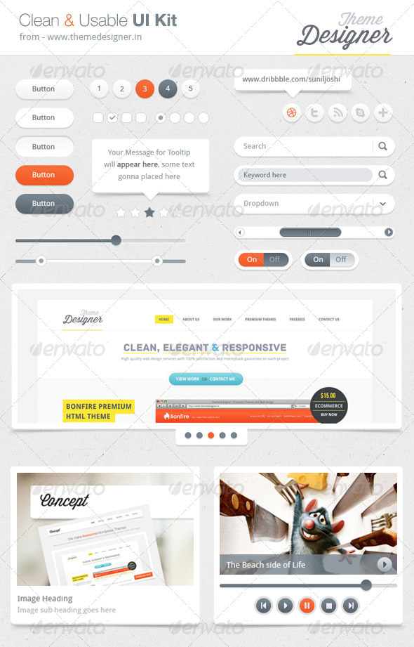 GraphicRiver Clean UI Kit 3702658