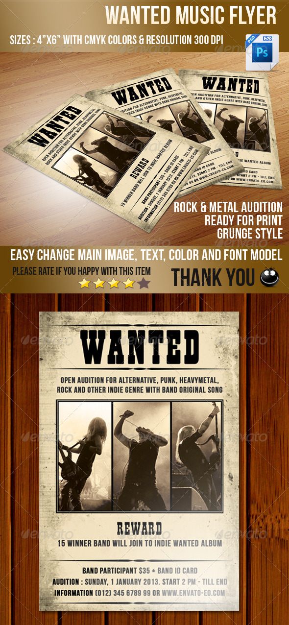 GraphicRiver Wanted Music Flyer 3709998