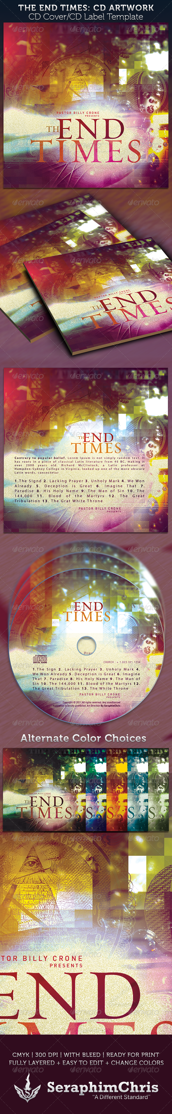 The End Times CD Cover Artwork Template - CD & DVD artwork Print Templates