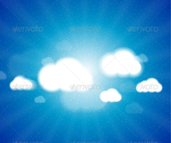 GraphicRiver White clouds in the blue clear sky Vector backgro 3780884