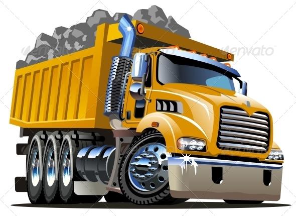 GraphicRiver Vector Cartoon Dump Truck 3781887