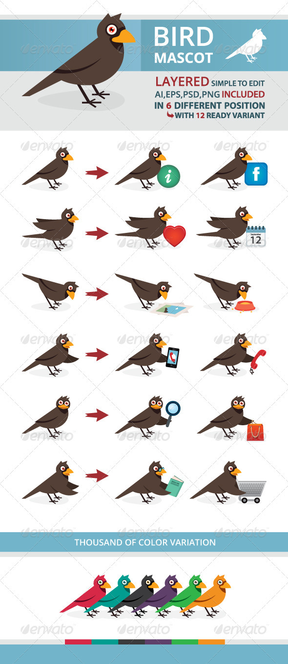 GraphicRiver Bird Mascot 3782631