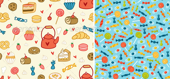 GraphicRiver Sweets And Treats Patterns 3782767