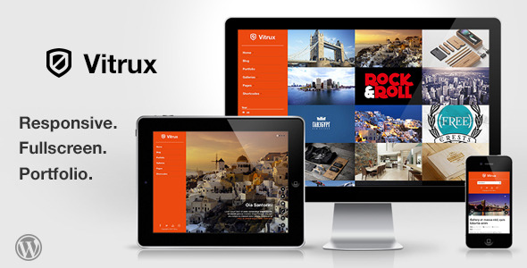 Vitrux - Responsive Fullscreen Portfolio WP Theme - Fullscreen, Portfolio Unlimited Color Elements, 30+ Shortcodes, iPhone, iPad, Portfolio and Slider Custom Post Types, AJAX Contact Form, Video Documentation, Sidebar Generator, Responsive, Video, Image
