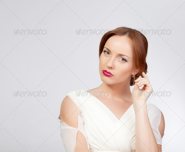 Girl portrait in studio - Stock Photo - Images
