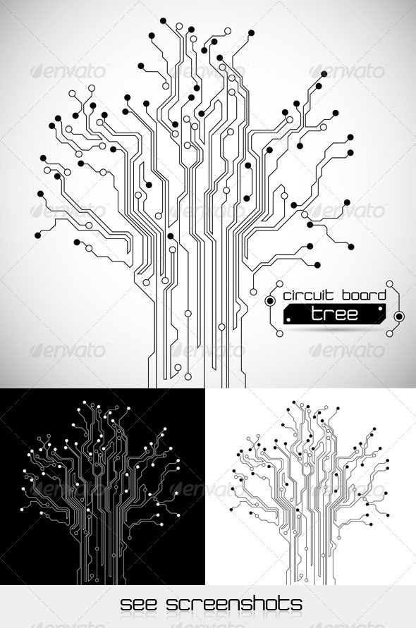 Circuit Board Tree - Abstract Background - Technology Conceptual