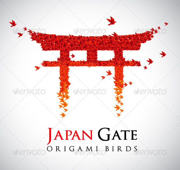Origami - Gate Torii - Abstract Conceptual