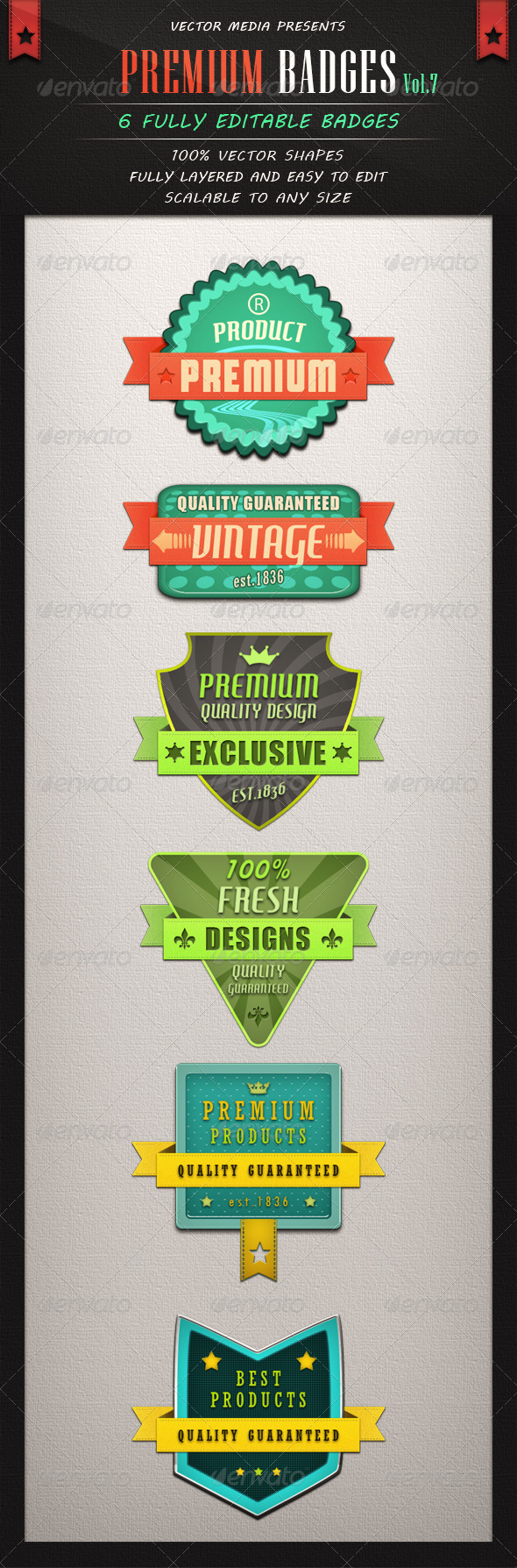 Premium Badges - Vol.7 - Badges & Stickers Web Elements