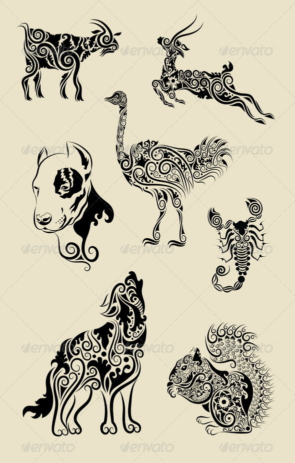 Animals Ornament Symbol Set - Animals Characters