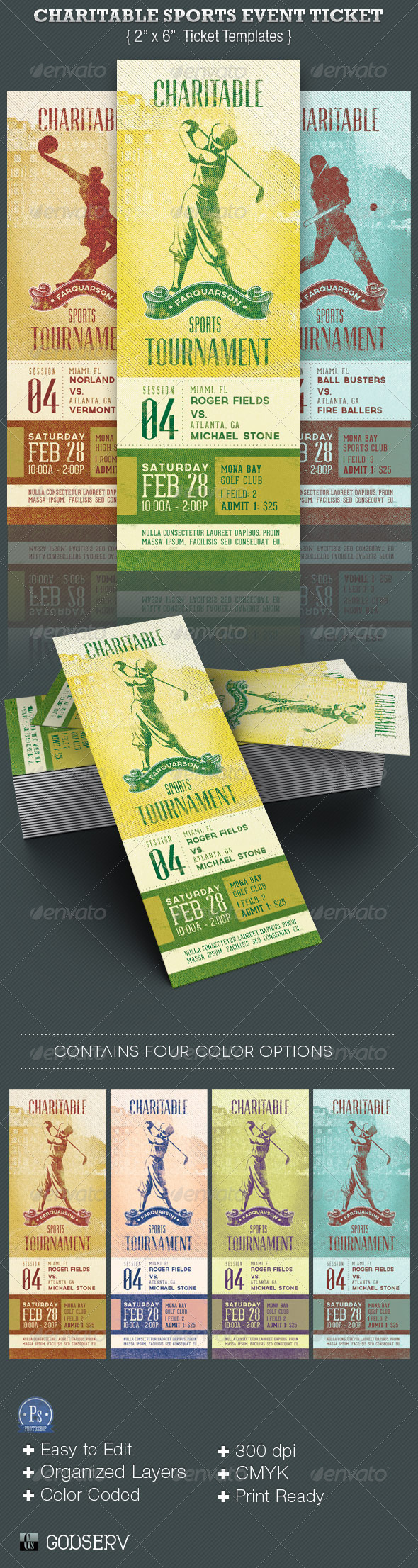 GraphicRiver Charitable Sports Event Ticket Template 3787532