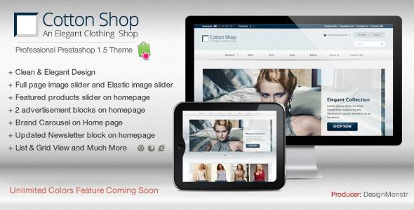 ThemeForest Cotton Shop Elegant Prestashop 1.5 Theme 3768063