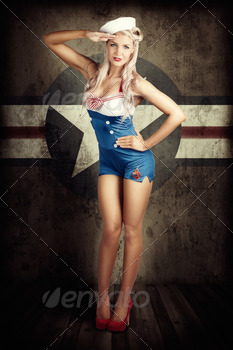 American Fashion Model in Military Pin-up Style - PhotoDune Item for Sale