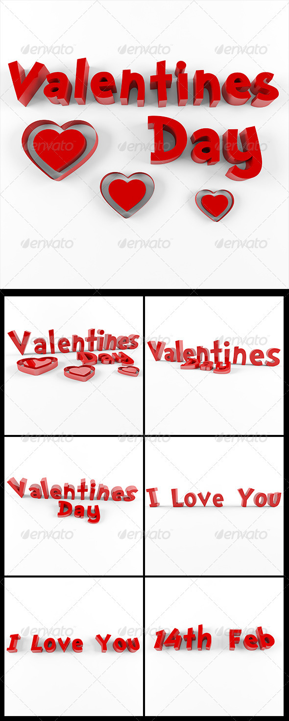 GraphicRiver 3D Valentine s day pack 3790114