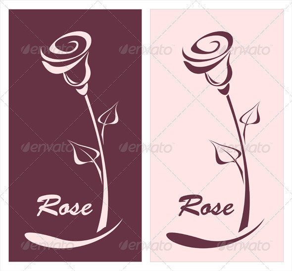 GraphicRiver Rose for logotype something or style post card 3790572