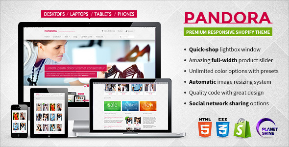 Pandora  Responsive Shopify HTML5 Theme - Shopping Shopify