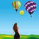 Girl Watching Hot-air Balloons - GraphicRiver Item for Sale