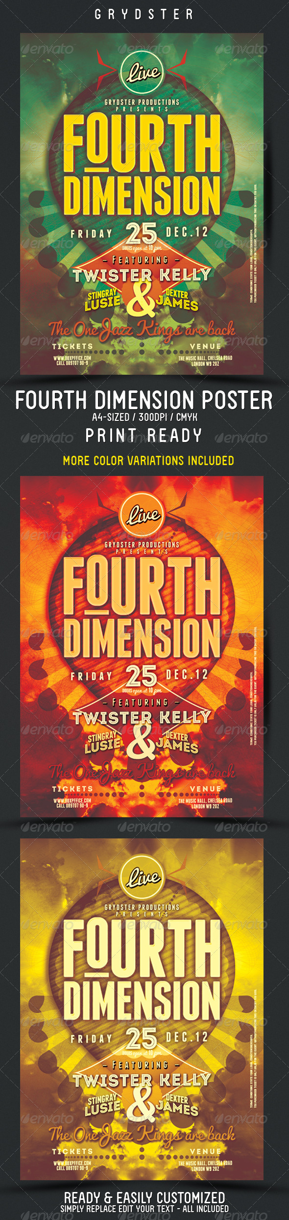 Fourth Dimension Flyer - Poster - Clubs & Parties Events