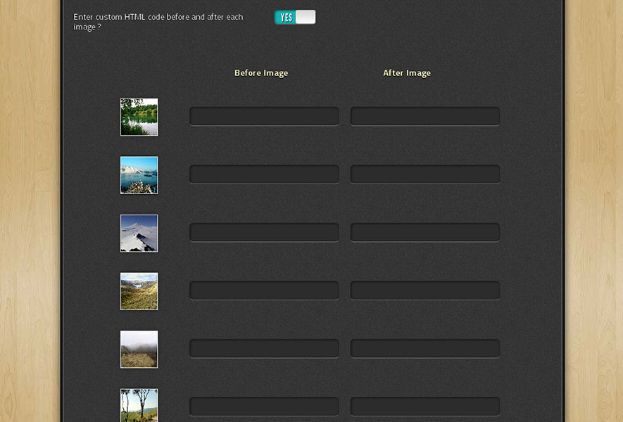 GalleryGen -  Image Gallery HTML Code Generator - You can enter custom HTML code before and after each image