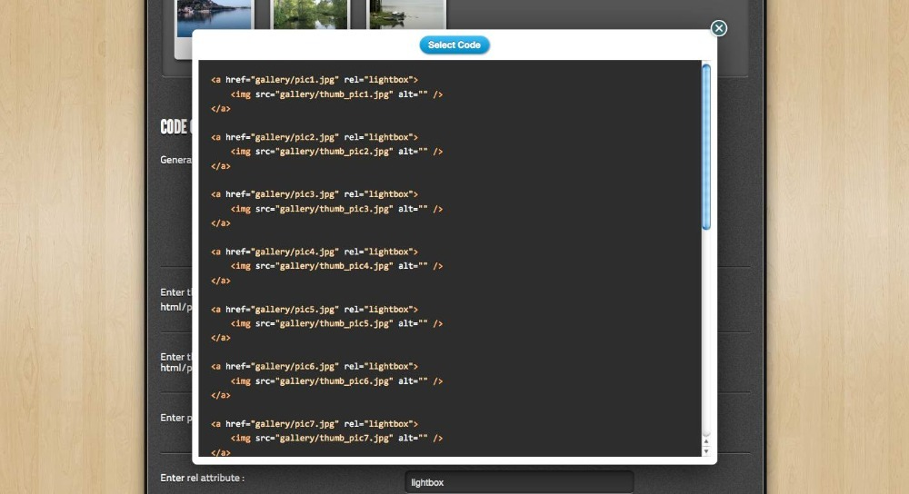 GalleryGen -  Image Gallery HTML Code Generator - The generated code is displayed in a modal window and has syntax highlighting. The code shown here is a sample HTML code for a Lightbox gallery.