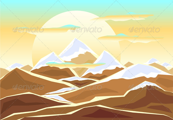 GraphicRiver Landscape with mounts in decorate style 3794630