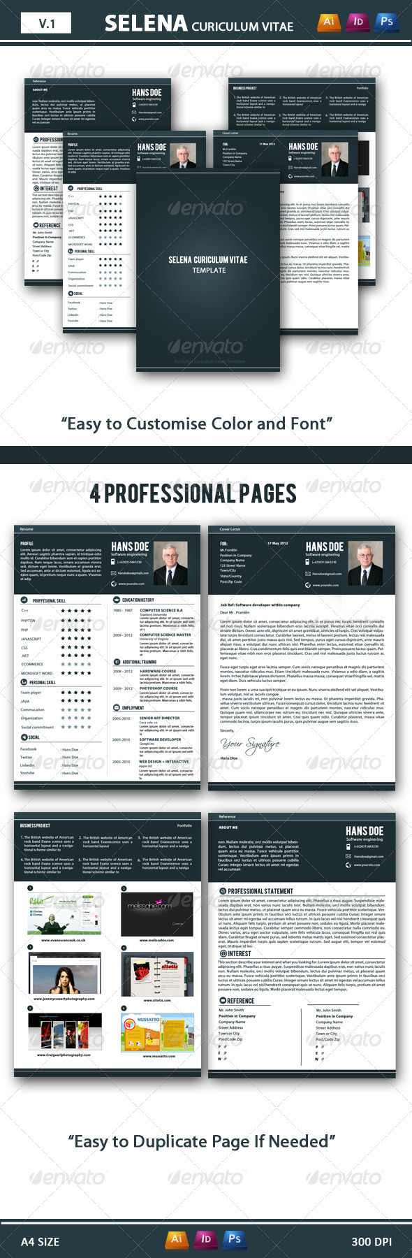 GraphicRiver Selena CV Resume 3700520
