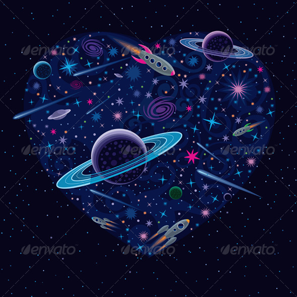 GraphicRiver Valentine Cosmic Heart 3795327
