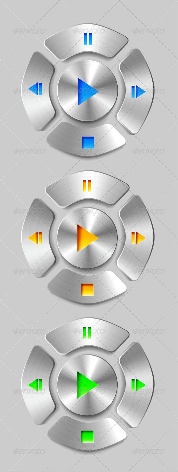 GraphicRiver Vector Brushed Metal Media Player Buttons 3795355