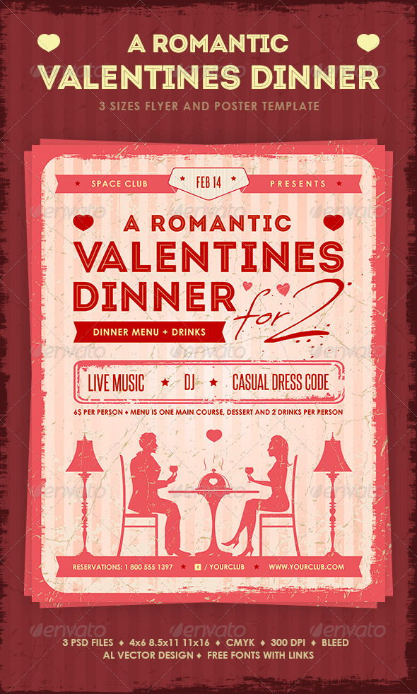 GraphicRiver Romantic Valentine s Dinner Poster and Flyer 3795493